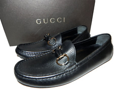 Gucci Black Leather Loafers Bamboo Driving Flat Moccasins Shoes 5 / 35 G