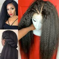 9A Kinky Straight Full Lace Front Wig Brazilian Human Hair Wig With Baby Hair Ya