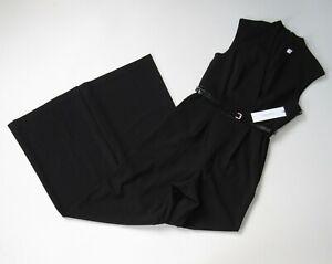 NWT Calvin Klein Belted V-Neck Wide Leg in Black Stretch Crepe Jumpsuit 12 $139