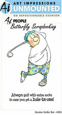 FUNNY Gordon Golfer Golf Set Cling Unmounted Rubber Stamps Art Impressions NEW