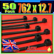 762mm x 12.7mm Black Nylon Cable Ties 50 Tie Zip Wraps