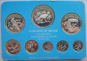 Belize 1977 Bird Set of 8 Silver Coins,1 cent-10 Dollars,Proof