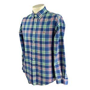 Ralph Lauren Polo Men's Custom Fit Long Sleeve Blue Plaid Oxford Shirt Medium