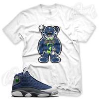 TATTERED TEDDY Sneaker T Shirt for Jordan Retro 13 Flint Navy White French Blue