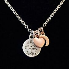 I LOVE YOU TO THE MOON AND BACK Charm Necklace~Birthday Gift~Mum~Daughter~Friend