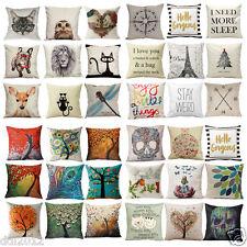 "18"" Square Linen Cotton Throw Pillow Case Cushion Waist Cover Home Sofa Decor AU"