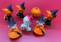 Vintage 1950 HALLOWEEN candles Lot of 7 GURLEY NOVELTY CO rare cat witch pumpkin