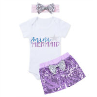 Toddler Girls Little Mermaid Clothes Outfits Kids Baby Costume Headband 3Pcs Set