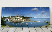 mevagissey harbour panoramic canvas print Cornwall framed picture