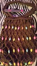 ☆Womens/Ladies Spirit Bag☆Brown Safari string bag with coloured wooden beads ❤