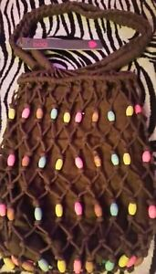 2 x Womens/Ladies Spirit Bag☆Brown Safari string bags with coloured wooden beads