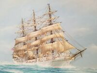 Antique Ship Painting Maritime Original Oil Painting in Gold Frame J. ARNOLD