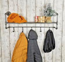 Metal Pipe Wall Shelf With Coat Hooks Floating Hallway Industrial Display Hanger