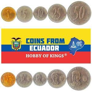 SET OF 5 COINS FROM ECUADOR: 1, 5, 10, 25, 50 CENTAVOS. 2000-2003