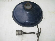Vintage Cobalt Blue Porcelain Enamel Gas Station Lamp Shade w/ Socket