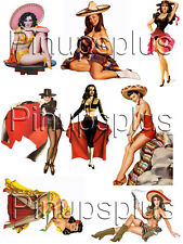 Rockabilly Mexican Pin-up Girl Latina Chicas Waterslide Decal Stickers #43