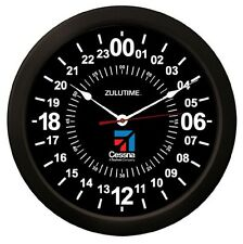 "Trintec CESSNA 14"" BLACK Military Time 24 Hour Wall Clock ZULU Time Ham Radio"