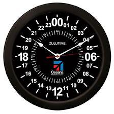 "Trintec CESSNA 14"" BLACK Military Time 24 Hour Wall Clock ZULU Time Ham Radio"
