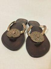 Mystique Wood and Glitter Tone Chain Jeweled Flip Flop Sandal Flat Shoe Size 7