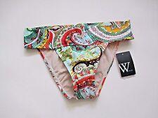 NWT W Swim Multi Color Paisley Prints Hipster Swim Wear Bikini Bottom XS