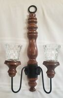 Vintage 2-Arm Wooden Wall Sconce with Votive Cups