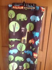 Circo Kids Jungle Safari Shower Curtain, Hooks  Lion Monkey Gator Hippo Elephant