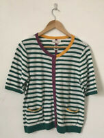White Stuff Women Cardigan Size 12 Short Sleeve Stripe Green Button Cotton