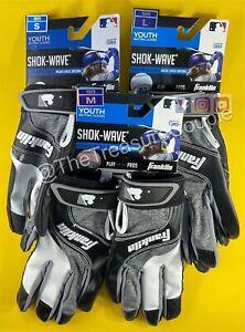 Franklin Shok-Wave Batting Gloves Black White Gray YOUTH - 3 sizes available