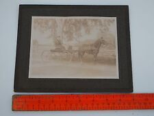 VINTAGE PHOTOGRAPH MAN & CARRIAGE W HORSE HENRY GEORGE SIGN MINE HILL OXFORD NJ