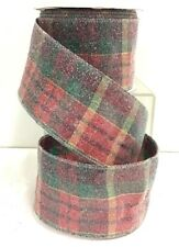 "Frosted Sugared Plaid Fabric Wire Ribbon~Red, Green, Multi~2 1/2"" W x 10 yd"
