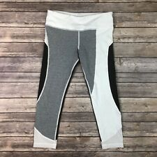 $140 VMMA Women's Small White Gray Black Yoga Colorblock Cropped Leggings Mesh