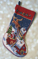 "16"" Tapestry Christmas Stocking Santa Sleigh Reindeer"