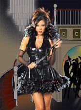Sexy Black Vinyl Gothic Raven Fancy Dress Costume - Medium UK 10/12