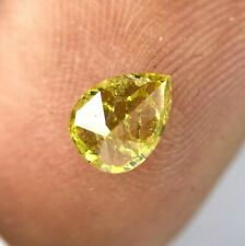Rustic Real Natural Diamond 0.58TCW Gold Yellow Sparkling Pear Full Cut for Gift