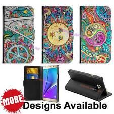 Fashion Hippie Design PU Leather Wallet Flip Case for Galaxy Phones