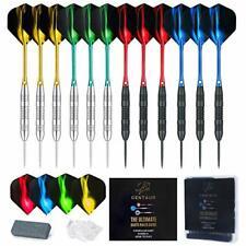 12 Pack Steel Tip Darts, Professional 22 Grams Metal Dart Set with 4 Colors Prem