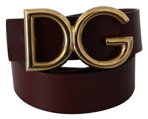 DOLCE & GABBANA Belt Bordeaux Leather Gold DG Logo Buckle Classic 85cm / 34in