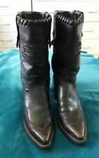 HARLEY DAVIDSON Black Leather Cuban Western Ankle Boots Winter Shoes Punk USA