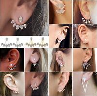 Women Fashion Crystal Rhinestone Leaves Tassel Ear Stud Earrings Chic Flowers
