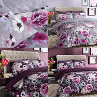 Luxury Inky Floral Duvet Cover Reversible PollyCotton Bedding Sets All Sizes