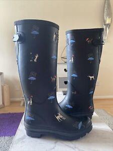 Joules Long Printed Women's Wellies Dog And Umbrella Design UK 6 EU39