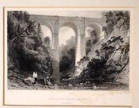 1835 Antik Aufdruck - Halterung - Cartlane Felsen Brücke Lanarkshire