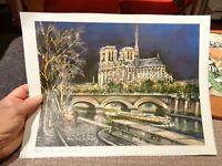 Ancienne Gravure Notre Dame de Paris la Nuit  Litho de Maurice Legendre