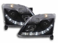 VAUXHALL VECTRA C 02-05 BLACK PROJECTOR HEADLIGHTS WITH LED DRL DAYTIME DRIVING