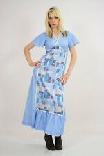 Vintage 70s Boho hippie prairie patchwork apron ruffle maxi dress S