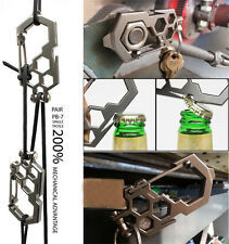 1X EDC Camping Tool Para-Biner Pulley System Stainless Steel Carabiner Opener to