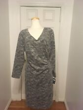NWT Ralph Lauren Ruched Grey& Black Knit Long Sleeve Dress Size 18W