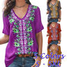 Women Summer Casual Short Sleeve T Shirt V Neck Floral Tops Loose Blouse Tunic