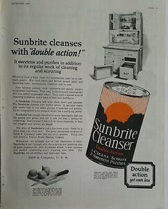 1923 Sunbrite cleanser soap double action vintage kitchen cupboard ad