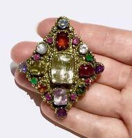 BIG Victorian Natural sapphire Ruby emerald garnet amethyst  multi gem brooch
